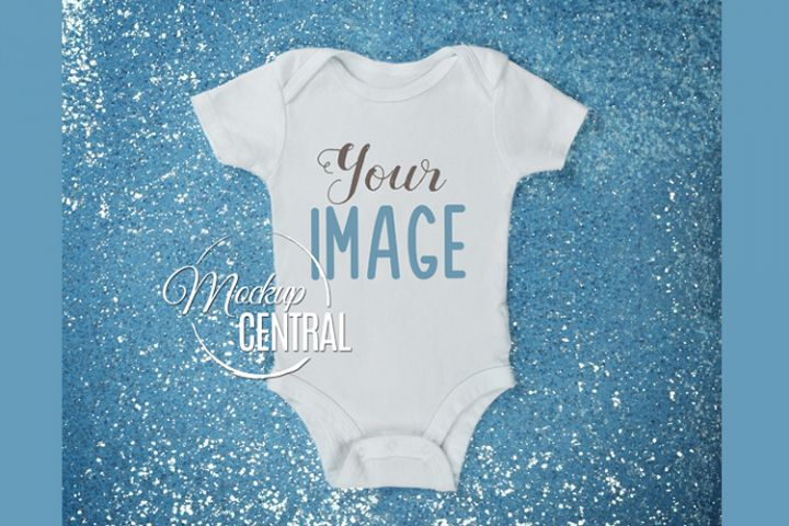Blue Sparkle Baby Girl Onepiece Bodysuit Mockup Shirt JPG