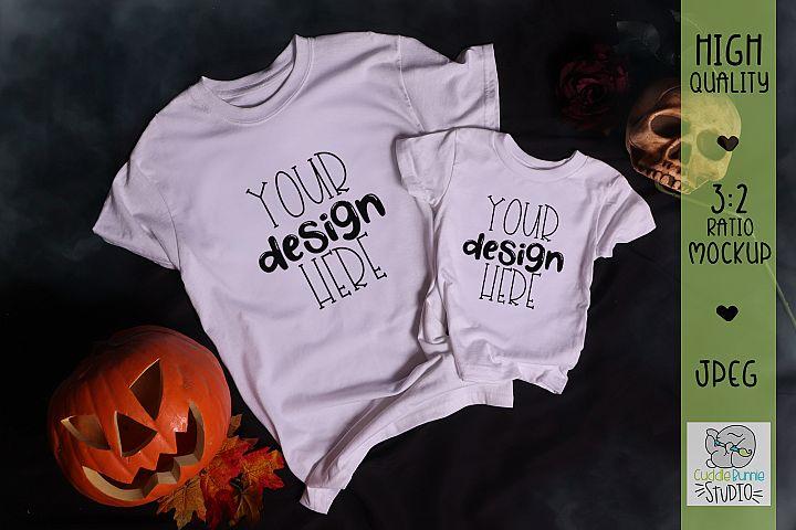 Halloween Mockup Pumpkin & Skull|Adult & Kid Tshirt Mockup