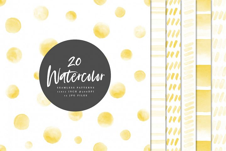 20 Seamless Watercolor Patterns Yellow