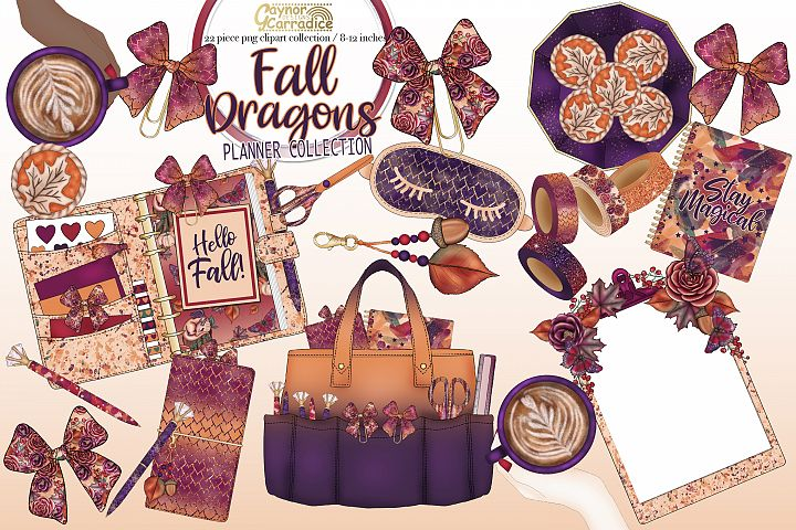Fall dragon - autumn planner clipart collection