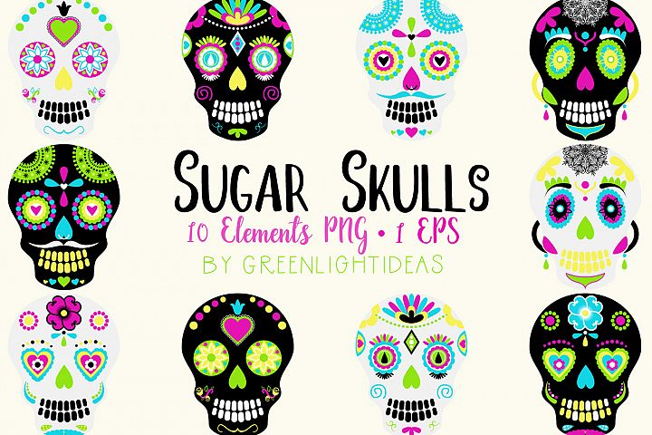 Sugar Skulls Graphics, Day Of The Dead Clipart, Halloween Clipart, Halloween Graphics