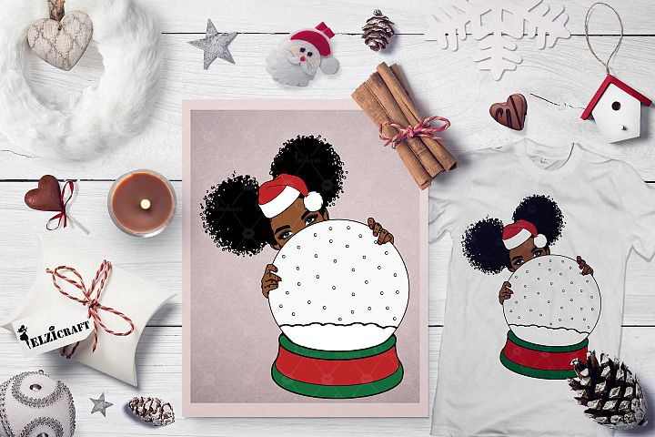 Christmas, Snow Globe, Cute Afro Girl Peeking SVG Cut File