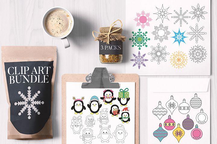 Christmas Bundle, Ornaments Snowflakes Penguins