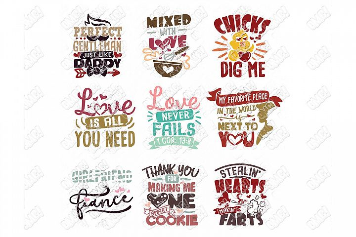 Valentine Quotes SVG Phrases Bundle in SVG/DXF/PNG/JPG/EPS example image 9