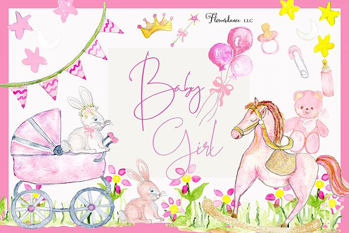 Baby Girl Watercolor Clipart
