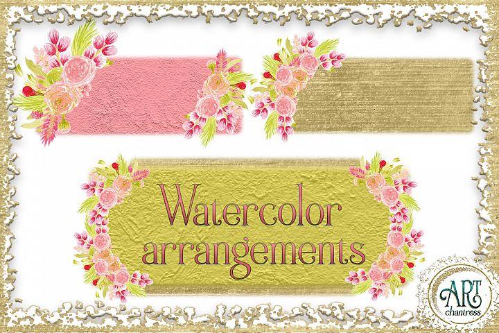 Watercolor Boho Floral Blush pink wreath frame PNG 5elements