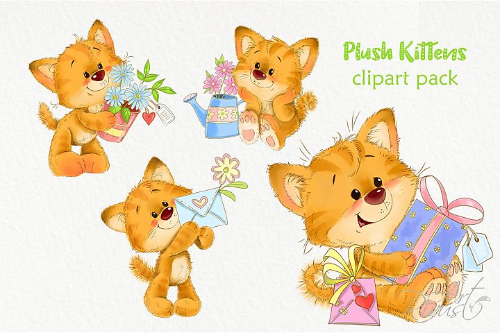 Red kittens with flowers and gifts for card making and other