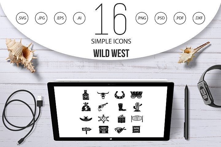 Wild west icons set design logo, simple style