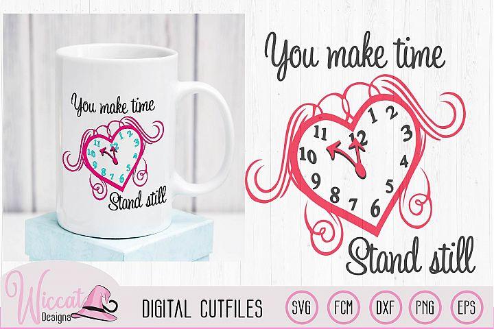 Valentine Clock Heart svg, Love quote svg,