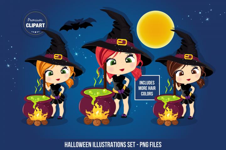 Halloween witch graphics, Halloween illustrations