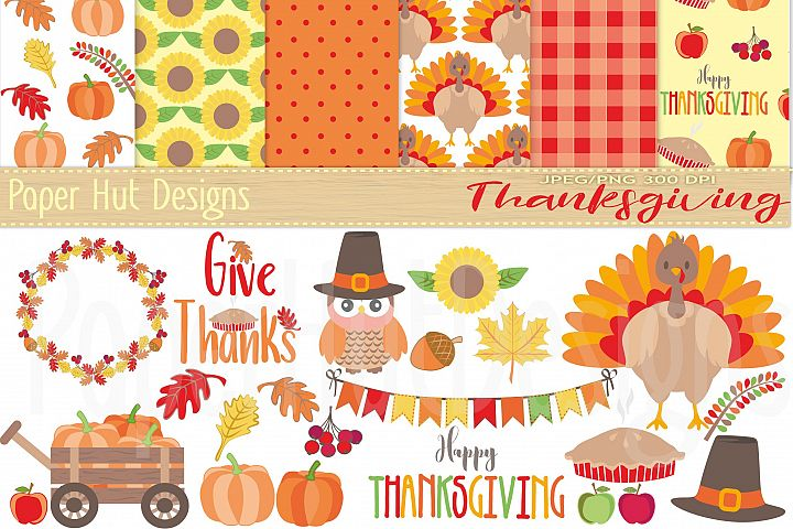 Thanksgiving Clipart and Digital Papers Set