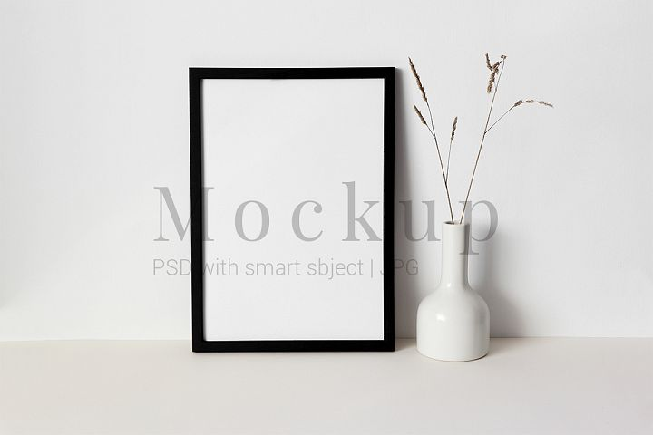 Black Photo Frame Mockup White Vase