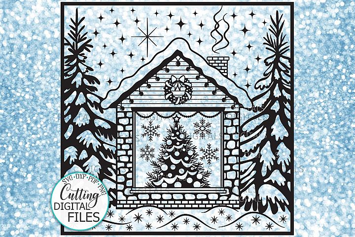 Christmas House with Tree Winter scene printable cutting svg example image 1