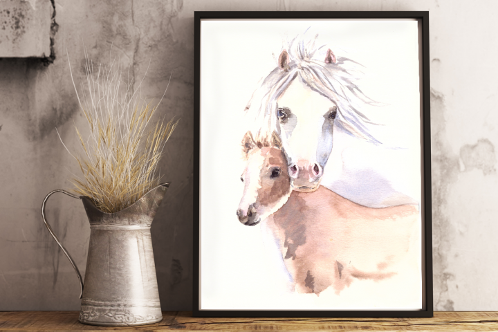 Mother and Baby Horses - Watercolor Print and Clip Art