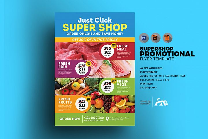 Supermarket Promotional Flyer Template