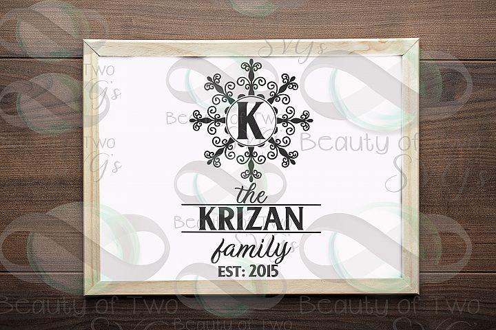Family Name Monogram initial svg, a-z monogram svg included