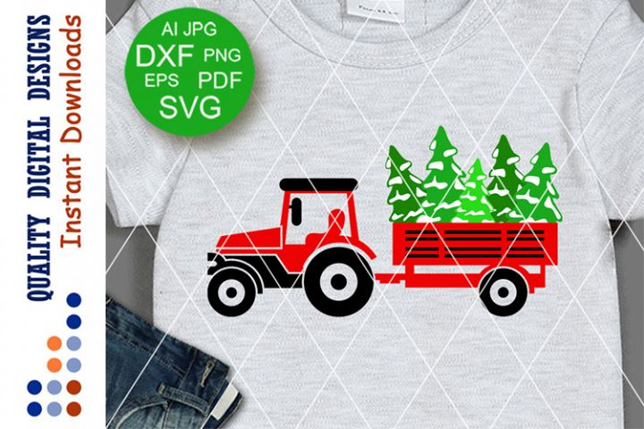 Christmas Tractor trailer svg Trees t shirt digital design