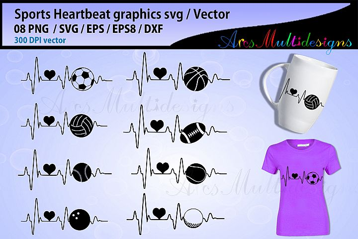 Sports ball heartbeat svg bundle / football heartbeat vector