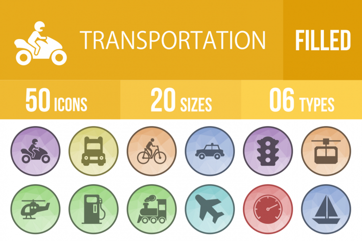 50 Transportation Filled Low Poly Icons