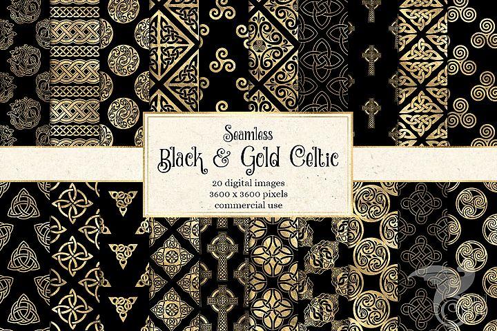 Black and Gold Celtic Digital Paper