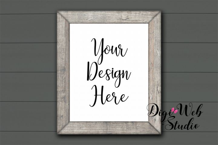 Wood Sign Mockup - Farmhouse Wood Frame on Gray Shiplap