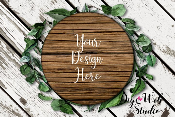 Flat Lay Wood Sign Mockup - Round Wood Sign on Leaf Wreath