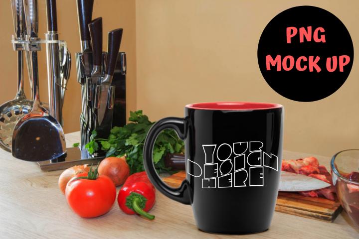 Mug Mockup, Kitchen Background Black Mug| PNG |4000x3063px