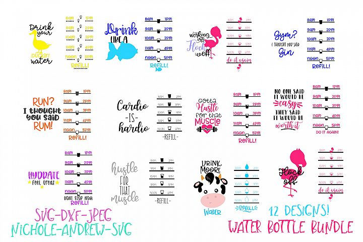 Water bottle svg bundle, Water bottle tracker svg