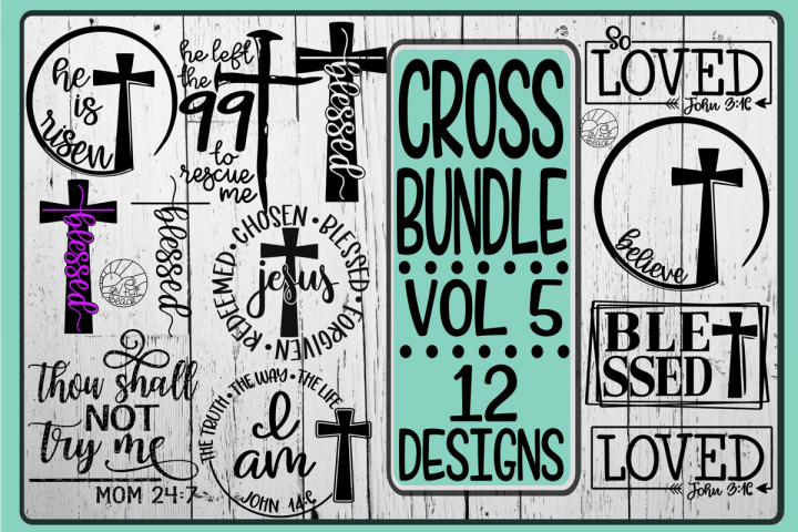 CROSS Bundle Vol 5- 12 Designs - SVG DXG PNG EPS