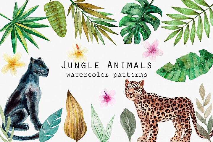 Jungle Animals. Watercolor Patterns