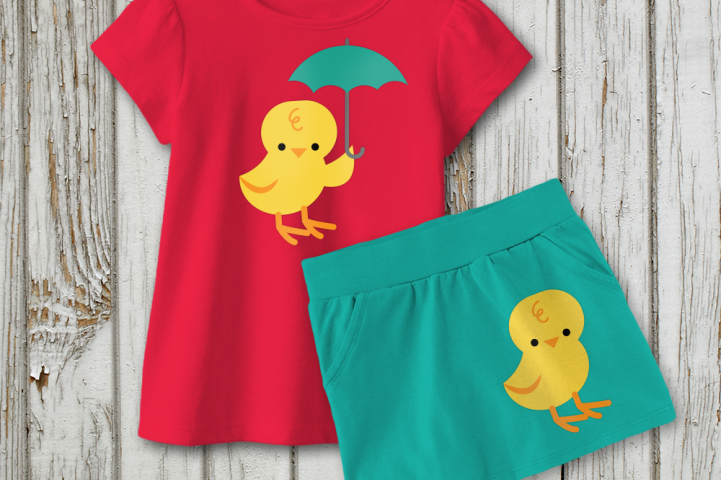 Baby Chick with Umbrella SVG File Cutting Template