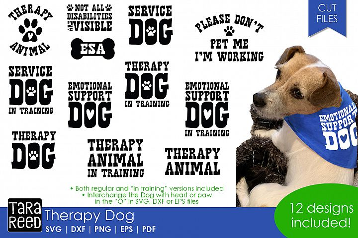 Therapy Dog - Dog SVG and Cut Files for Crafters