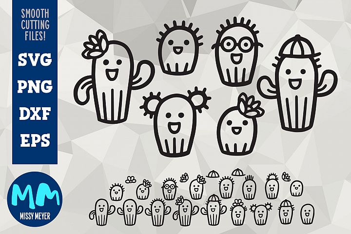Cactus Family Cartoon Set - cut files for decals!