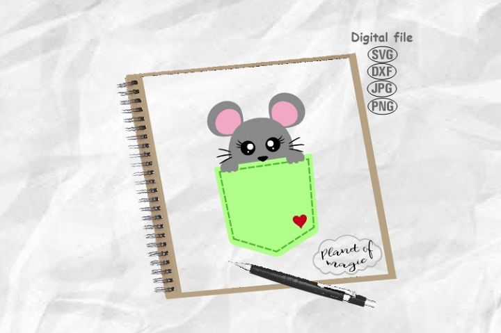 Pocket Svg, Mouse Svg, Mouse Pocket Svg, Mouse Cricut, Rat