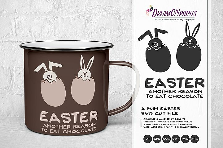 Fun Easter SVG - Easter Bunny SVG Cut File, Chocolate SVG