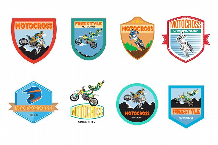 set of motocross badge logo vector