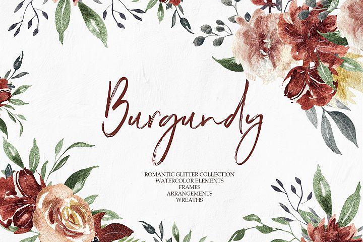 Burgundy Elegant Graphic Collection, Watercolor floral set