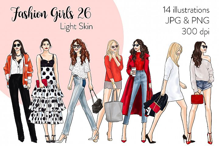 Fashion illustration clipart - Fashion Girls 26 - Light Skin