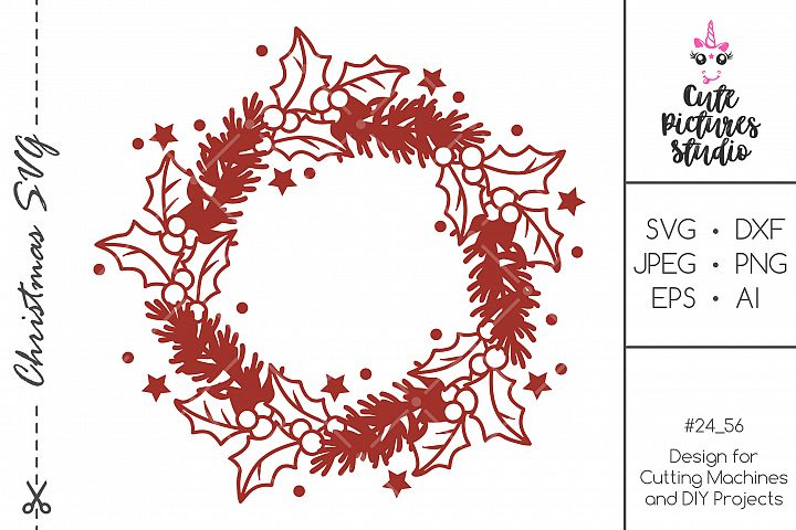 Christmas holly frame SVG DXF PNG, Monogram frame svg,