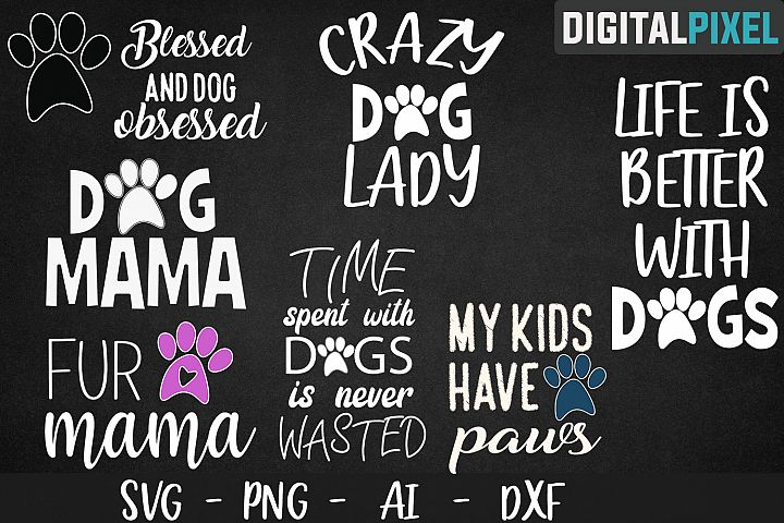 Dog Bundle SVG PNG JPEG DXF - Fur mama | Dog mama