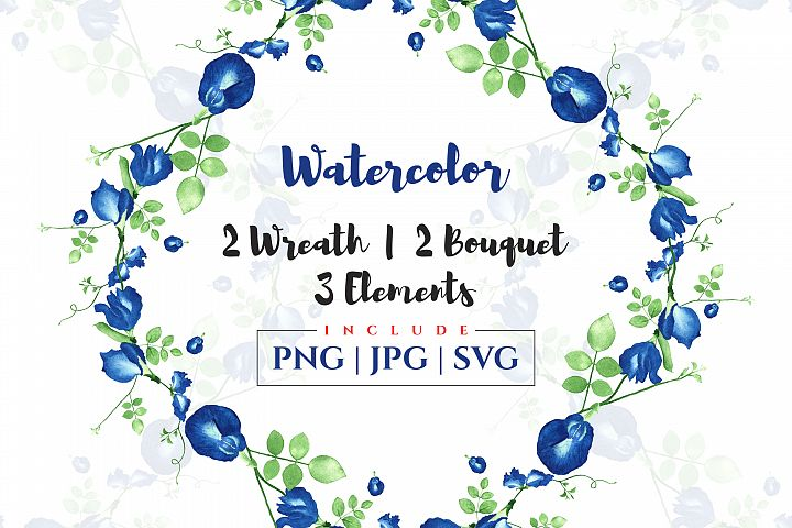 Elegant watercolor floral wreath and bouquet