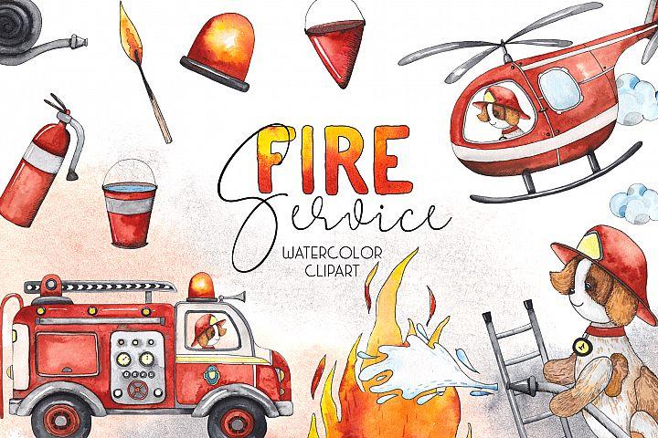 Fire Service. Watercolor clipart