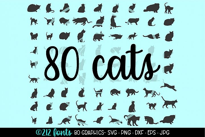 80 Cats and Kittens Silhouettes Cut File DXF PNG JPG SVG EPS