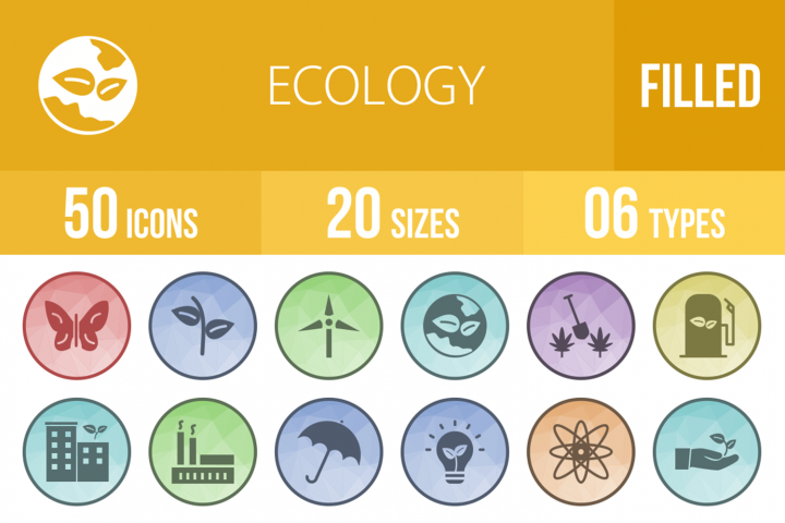 50 Ecology Filled Low Poly Icons