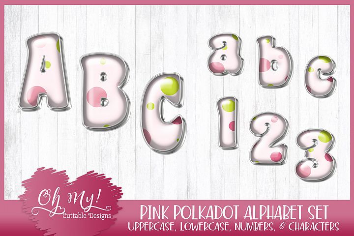 Pink Polkadots Alphabet Bundle Clipart Graphics Word Art