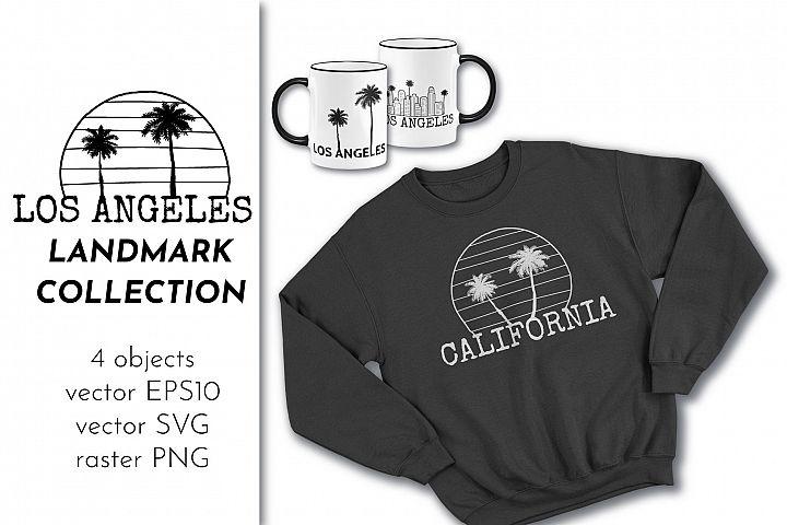 Los Angeles California Landmarks SVG