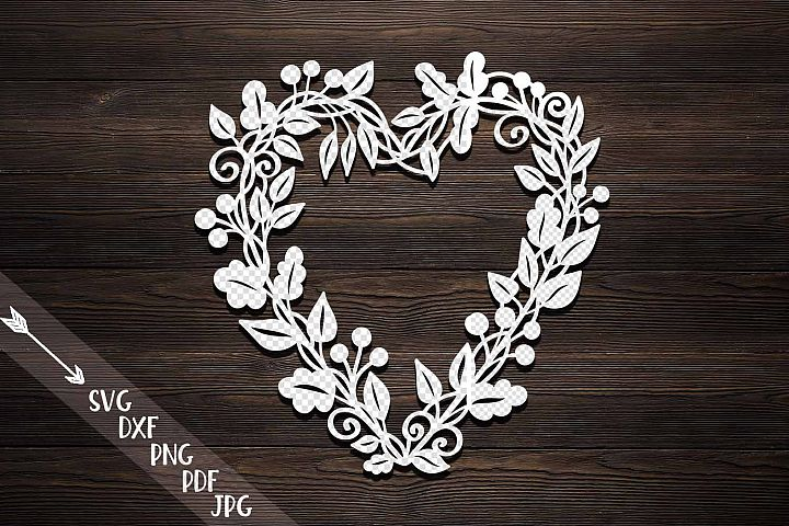 Harvest Thanksgiving Heart wreath Monogram paper machine cut