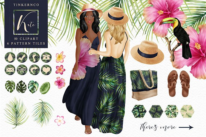 Tropical Travel Fashion Girl for bloggers and planners