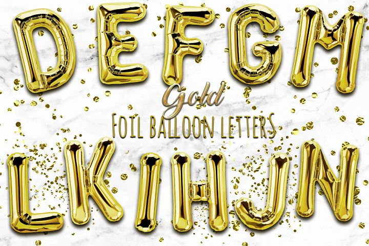 Gold Foil Balloon Numbers PNG- Hand Drawn