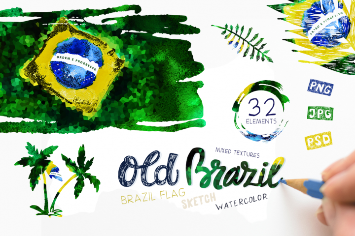 Old Brazil. Watercolor Flag.